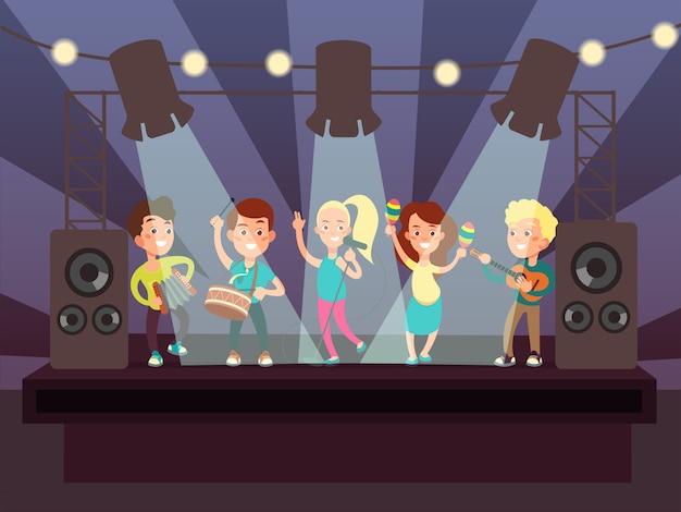 Manifestazione di musica con la banda dei bambini che gioca l'illustrazione di vettore del fumetto di roccia in scena Vettore Premium