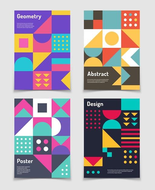 Manifesti svizzeri retrò con forme geometriche di bauhaus Vettore Premium