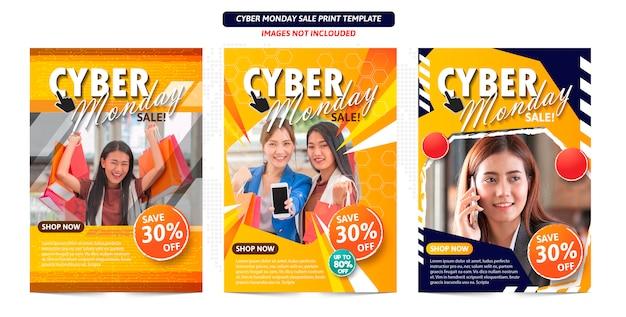 Manifesto astratto di cyber lunedì pronto per la stampa. Vettore Premium