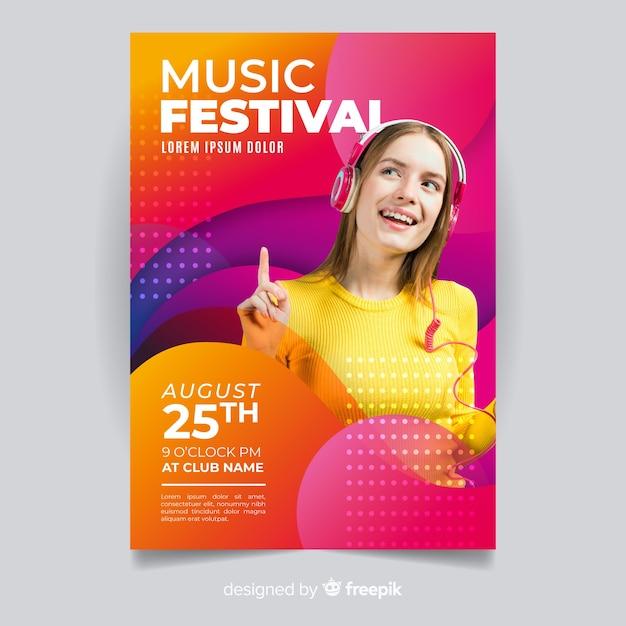 Manifesto astratto di festival di musica con la foto Vettore gratuito