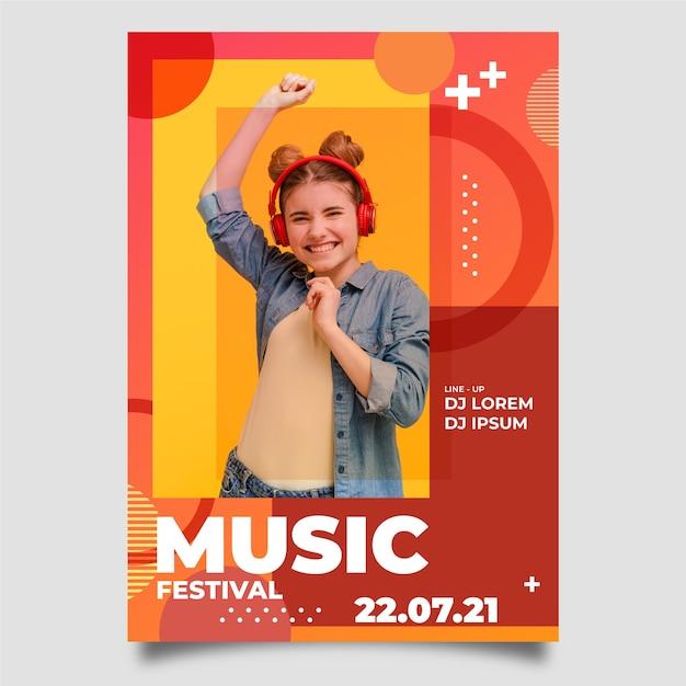 Manifesto astratto di musica con foto Vettore gratuito