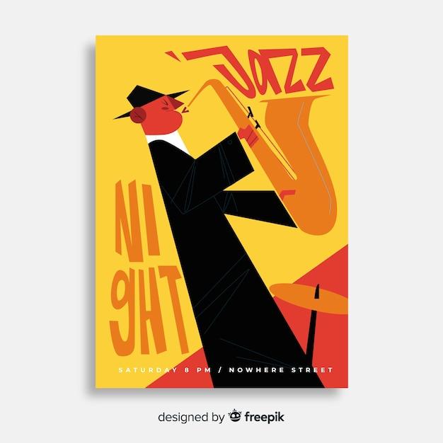 Manifesto astratto di musica jazz nel design disegnato a mano Vettore gratuito