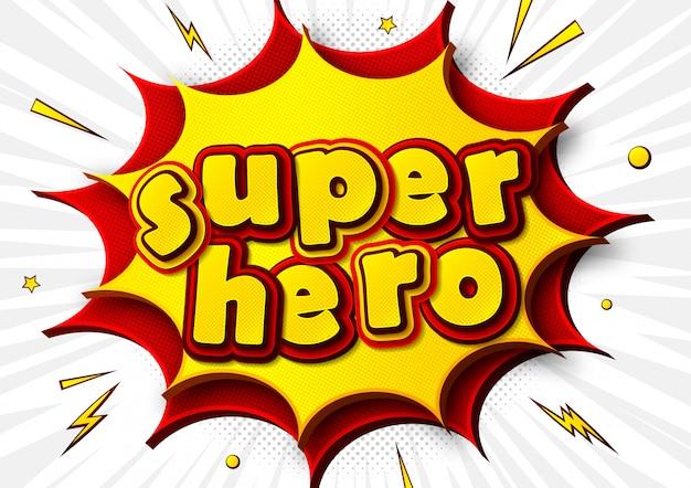 Manifesto comico con la parola supereroe in stile pop art Vettore Premium
