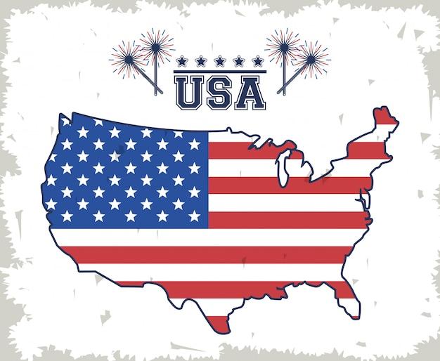 Manifesto degli stati uniti d'america Vettore Premium