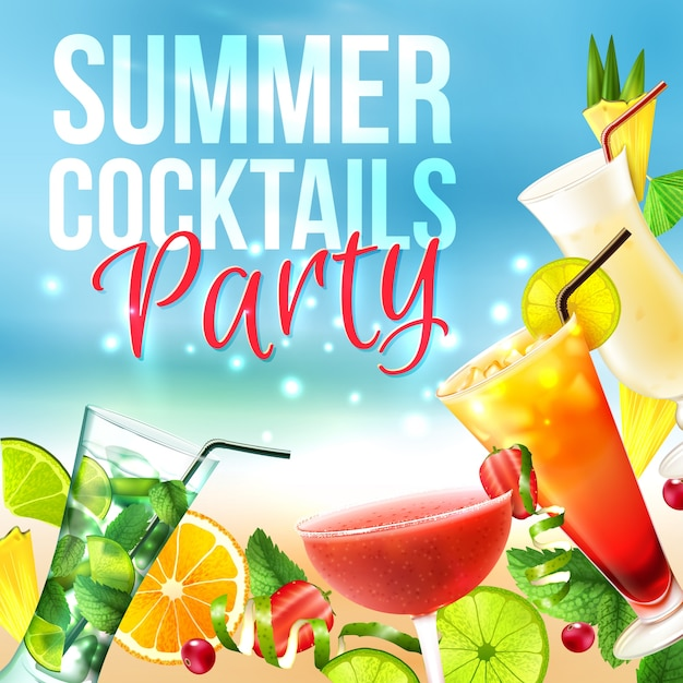 Manifesto del cocktail party Vettore gratuito