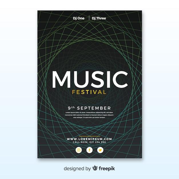 Manifesto del festival di musica astratta Vettore gratuito