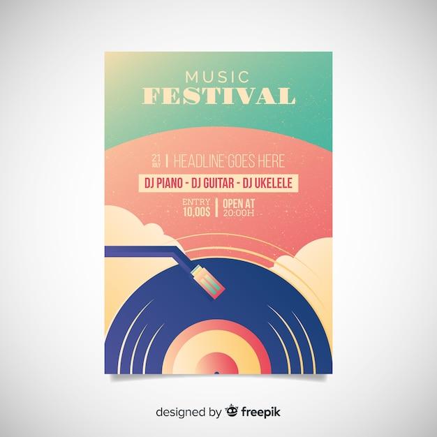 Manifesto del festival di musica dell'illustrazione di pendenza Vettore gratuito