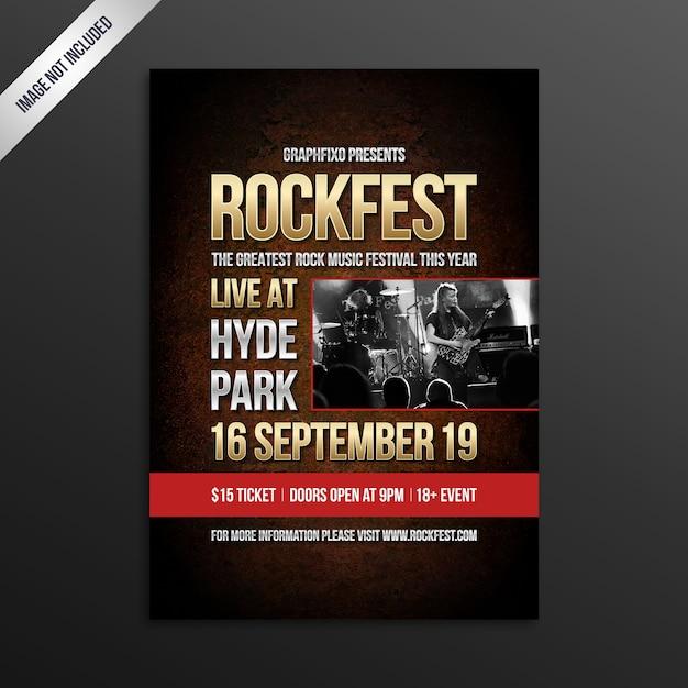 Manifesto del festival di musica rock indie Vettore Premium