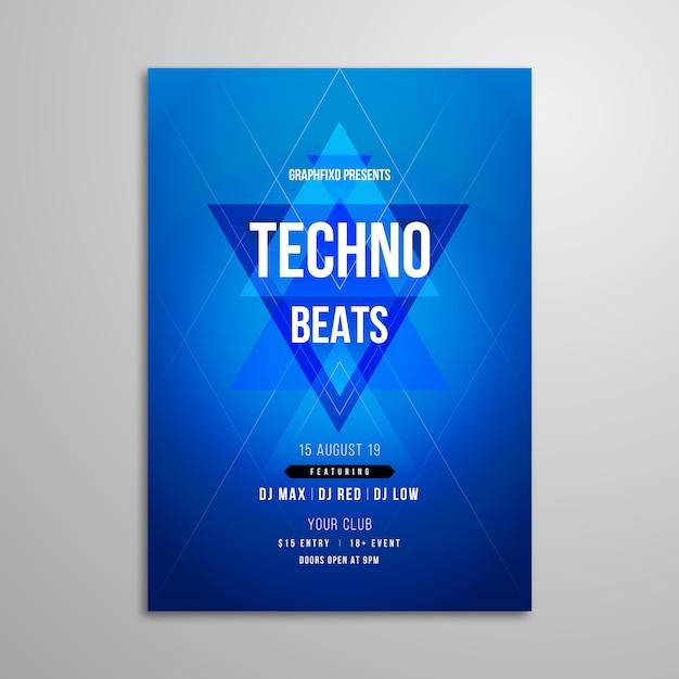 Manifesto del festival di musica techno Vettore Premium