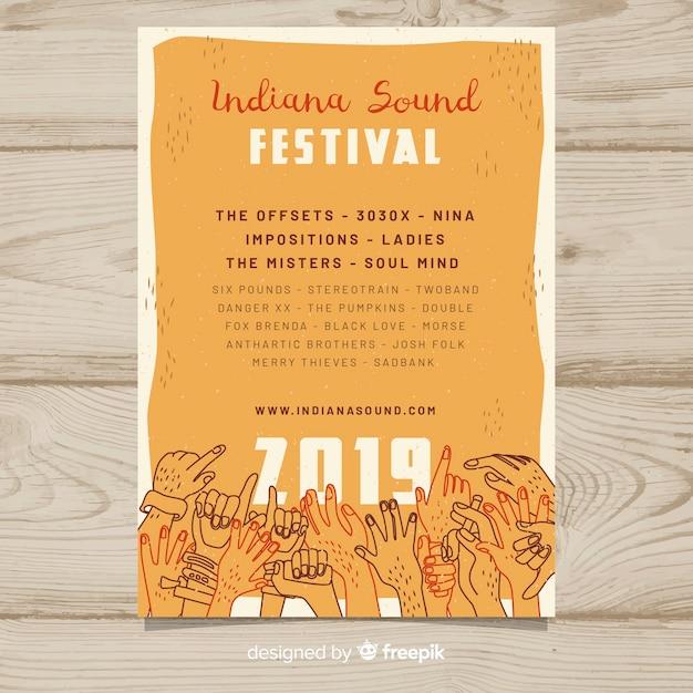 Manifesto del festival musicale di mani Vettore gratuito