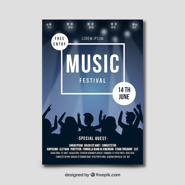 Manifesto del festival musicale disegnato a mano Vettore gratuito
