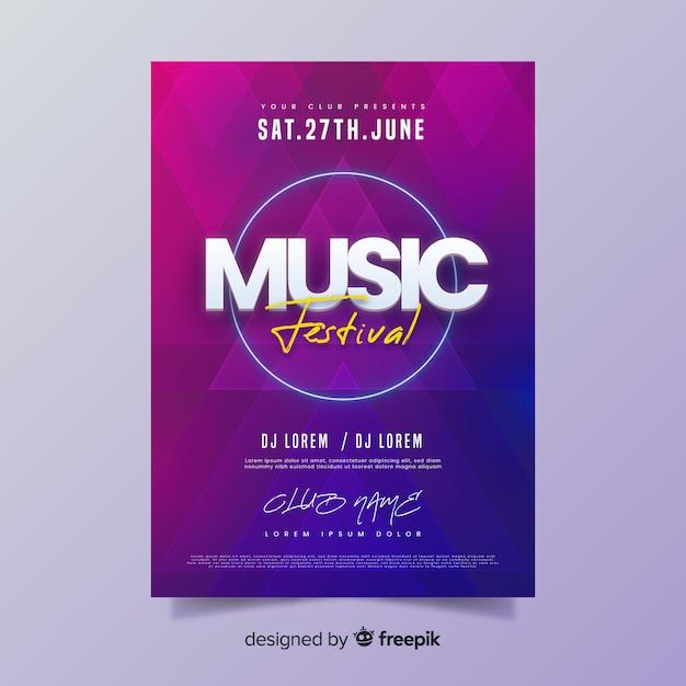 Manifesto del festival musicale estivo gradiente Vettore gratuito