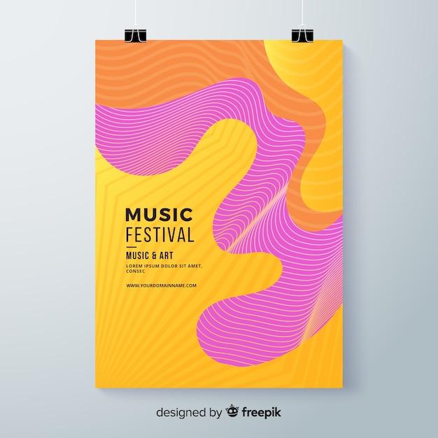Manifesto del festival musicale ondulato Vettore gratuito