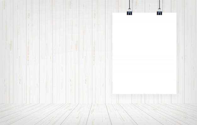 Manifesto del libro bianco che appende con il fondo di legno della parete. Vettore Premium
