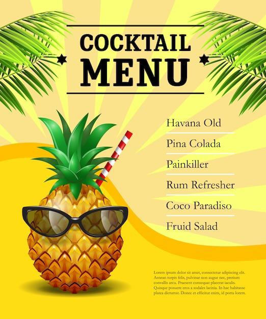 Manifesto del menu cocktail. ananas in occhiali da sole e cannuccia Vettore gratuito
