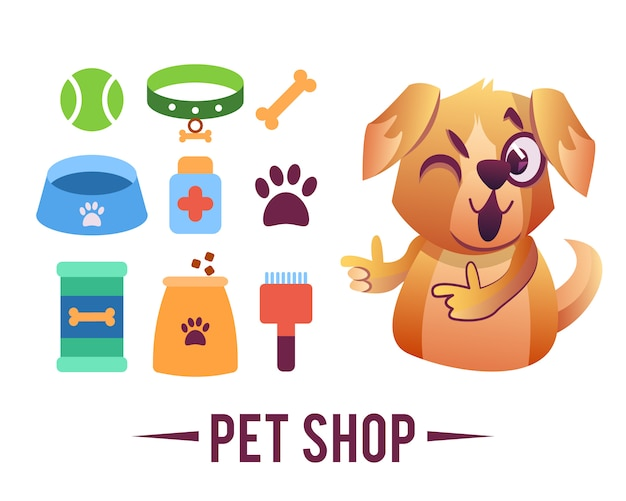 Manifesto del negozio di animali, cane con oggetti per animali domestici Vettore gratuito