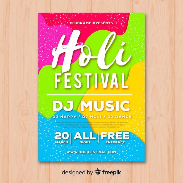 Manifesto del partito colorato festival di holi Vettore gratuito