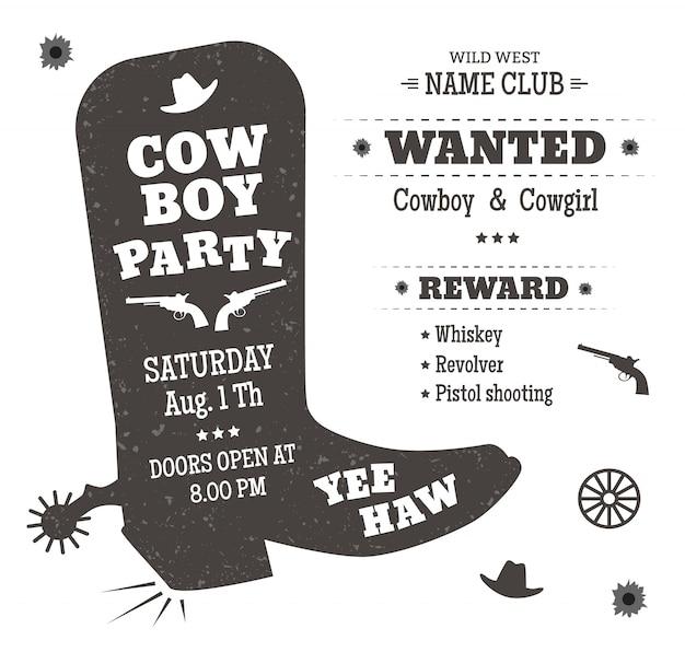 Manifesto del partito del cowboy o invito in stile occidentale. sagoma di stivali da cowboy con testo. Vettore Premium