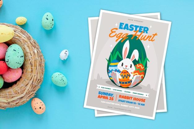 Manifesto del partito di caccia dell'uovo di pasqua con il cestino Vettore gratuito