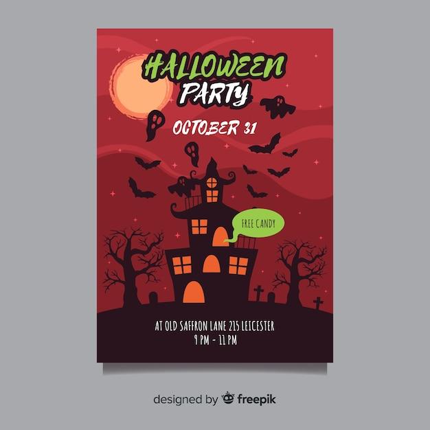 Manifesto del partito di halloween con casa stregata Vettore gratuito