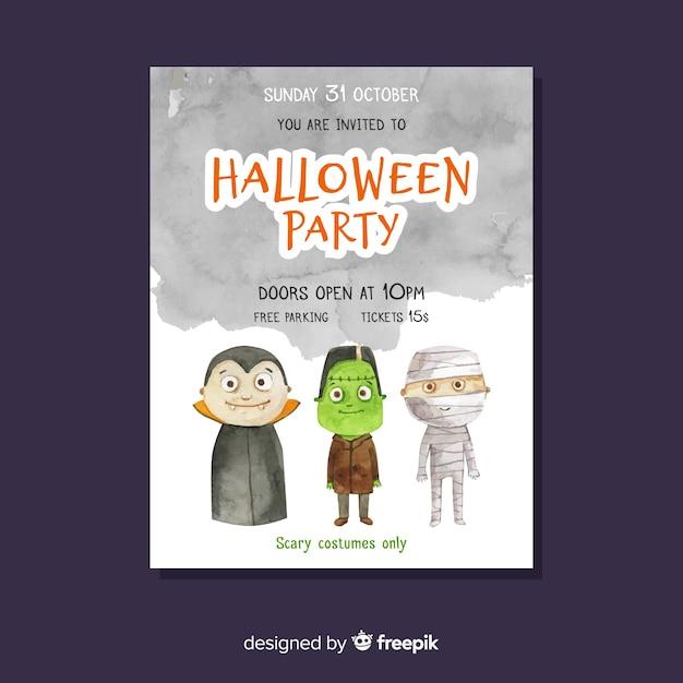 Manifesto del partito di halloween con mostri Vettore gratuito