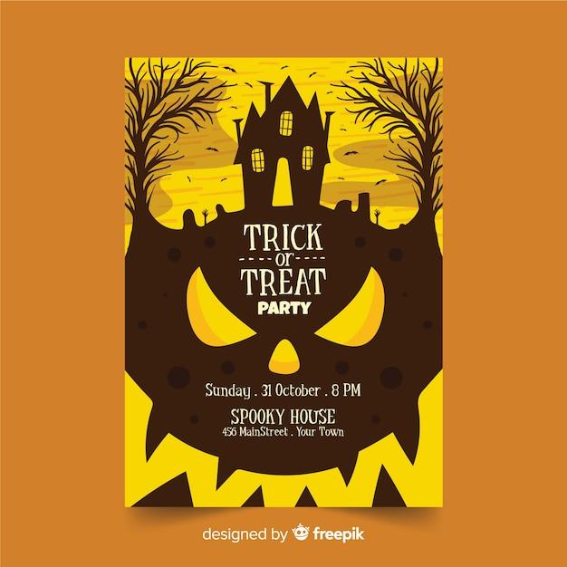 Manifesto del partito di halloween della zucca delle curve del primo piano Vettore gratuito