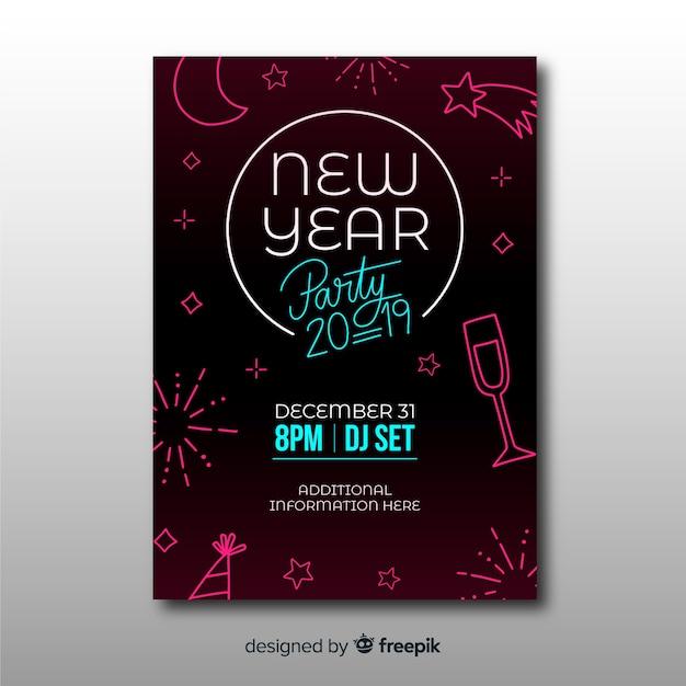 Manifesto del partito di nuovo anno disegnato a mano moderno Vettore gratuito