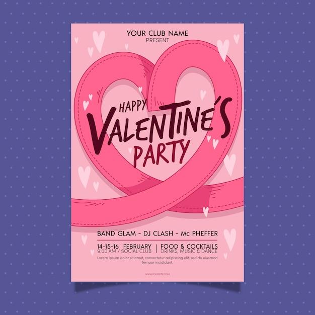 Manifesto del partito di san valentino disegnato a mano con i cuori Vettore gratuito