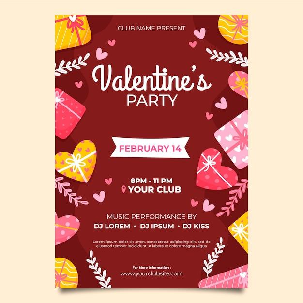 Manifesto del partito di san valentino disegnato a mano Vettore gratuito