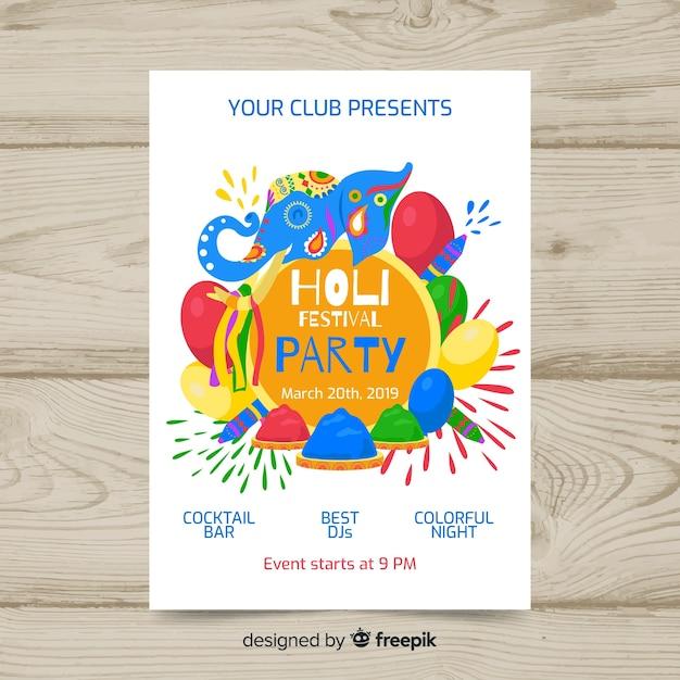 Manifesto del partito festival di elefanti holi Vettore gratuito