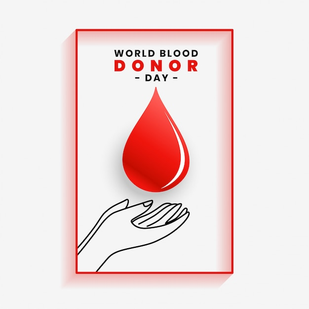 Manifesto del sangue di risparmio della mano per la giornata mondiale del donatore di sangue Vettore gratuito