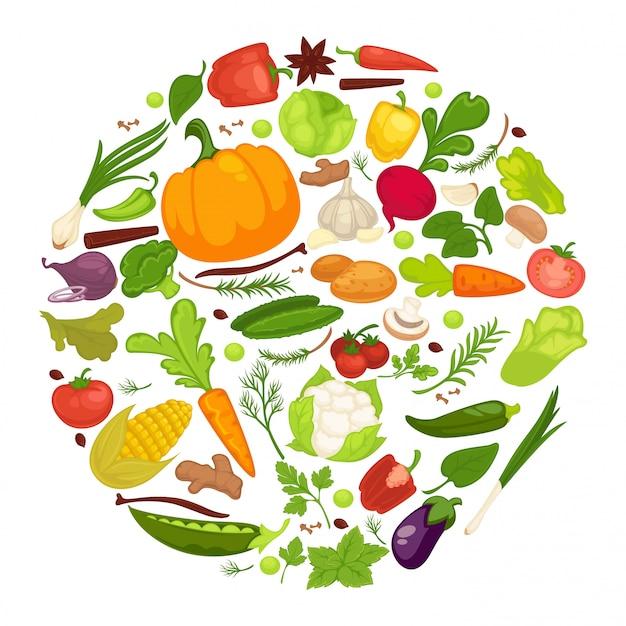Manifesto dell'alimento sano delle verdure della verdura organica, del cavolo sano fresco e dell'alimento vegetariano. Vettore Premium