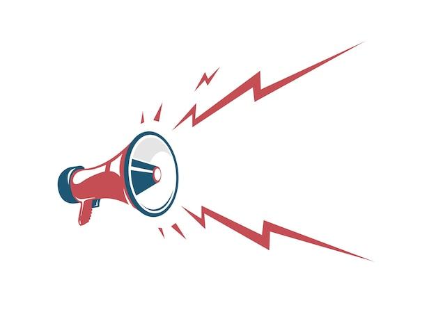 Manifesto dell'annata di vettore con il retro megafono rosso Vettore Premium