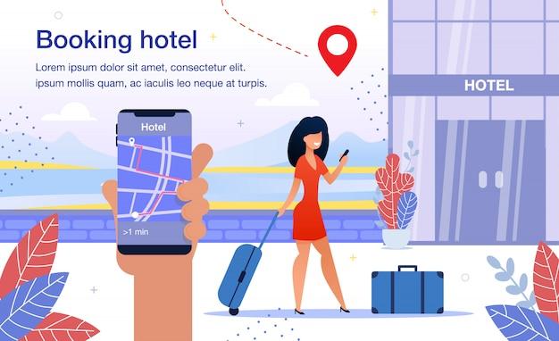 Manifesto dell'annuncio piatto di vettore di app di smartphone di prenotazione dell'hotel Vettore Premium