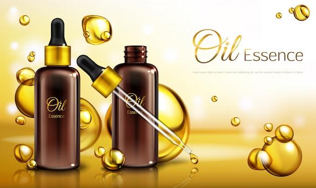 Manifesto dell'annuncio realistico di vettore 3d, insegna di promo con essenza dell'olio in bottiglie di vetro marroni con una pipetta. Vettore gratuito