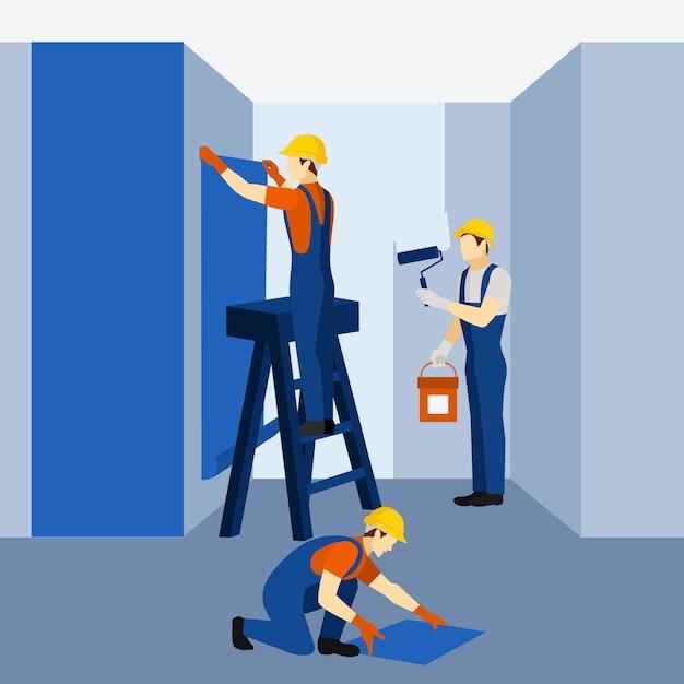 Manifesto dell'icona del lavoro di rinnovamento della costruzione di appartamento Vettore gratuito