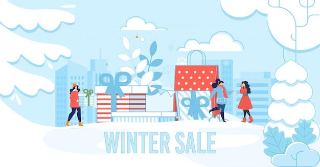 Manifesto dell'iscrizione di vendita di inverno per il negozio e la boutique Vettore Premium