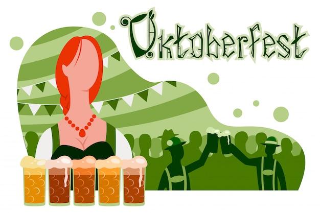 Manifesto dell'oktoberfest, banner con una ragazza in abito tradizionale, bicchieri di birra e una festa con sagome di persone. Vettore Premium