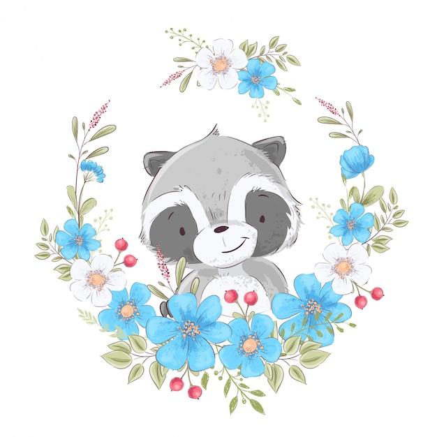 Manifesto della cartolina carino piccolo procione in una corona di fiori. Vettore Premium