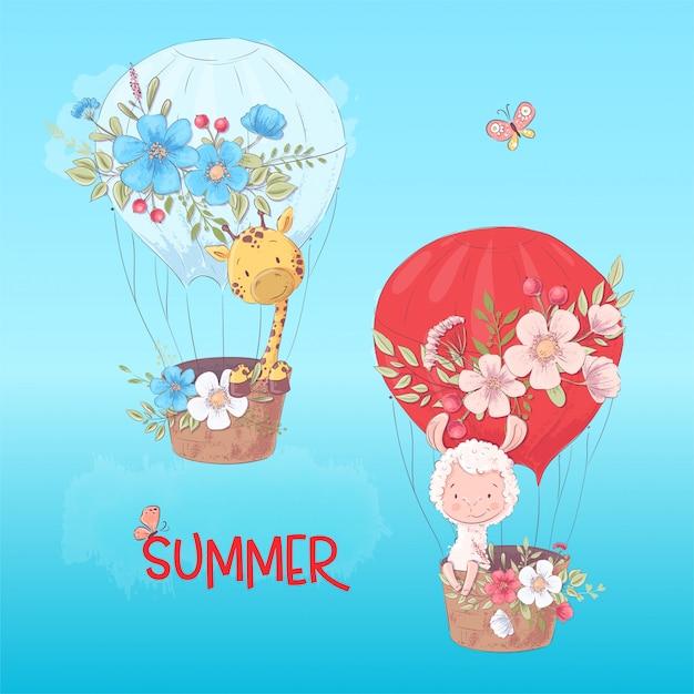 Manifesto della cartolina di un lama e di una giraffa svegli in un pallone con i fiori nello stile del fumetto Vettore Premium