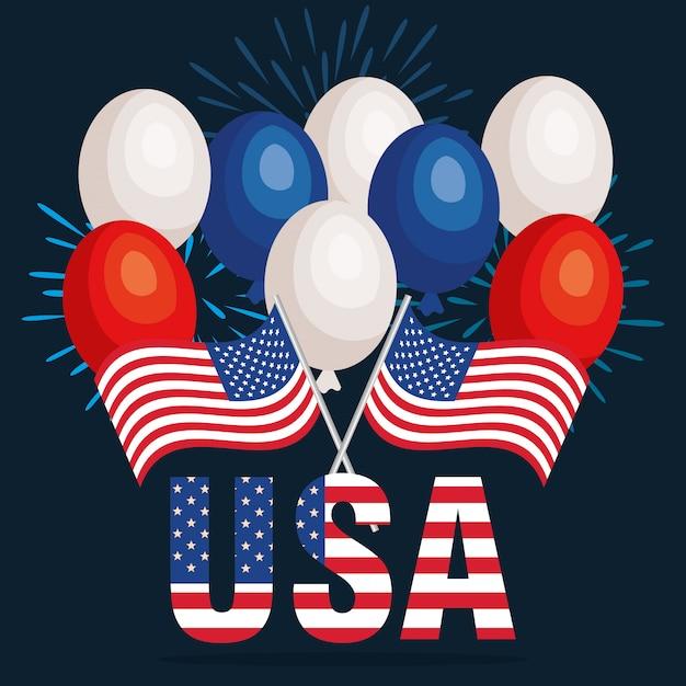 Manifesto della celebrazione del giorno dell'indipendenza usa Vettore gratuito