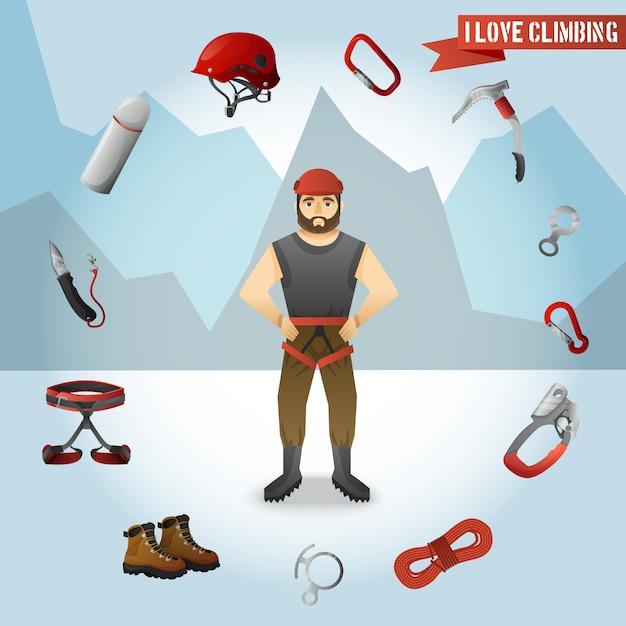 Manifesto della composizione nelle icone del carattere dello scalatore di montagna Vettore gratuito