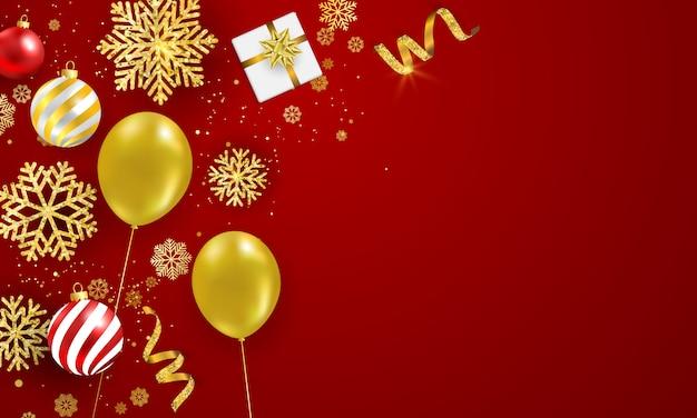 Manifesto della festa di natale e fondo rosso del buon anno. Vettore Premium