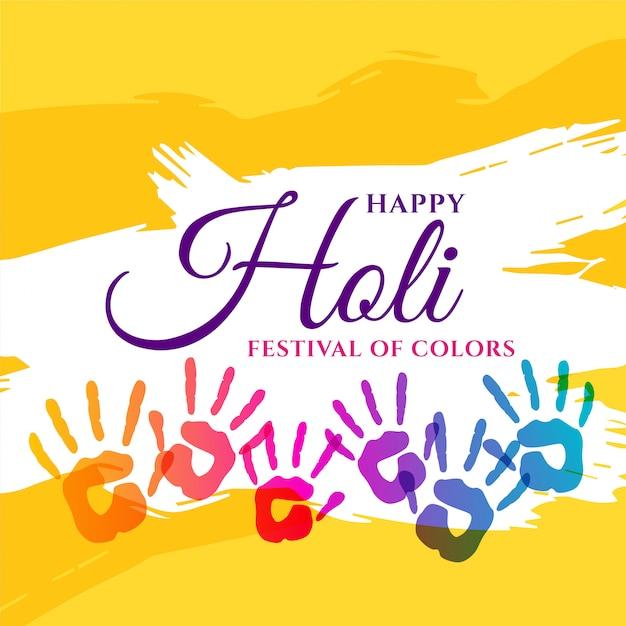 Manifesto di celebrazione di holi felice con mani colorate Vettore gratuito