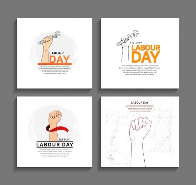 Manifesto di disegno di vettore di festa del lavoro Vettore Premium