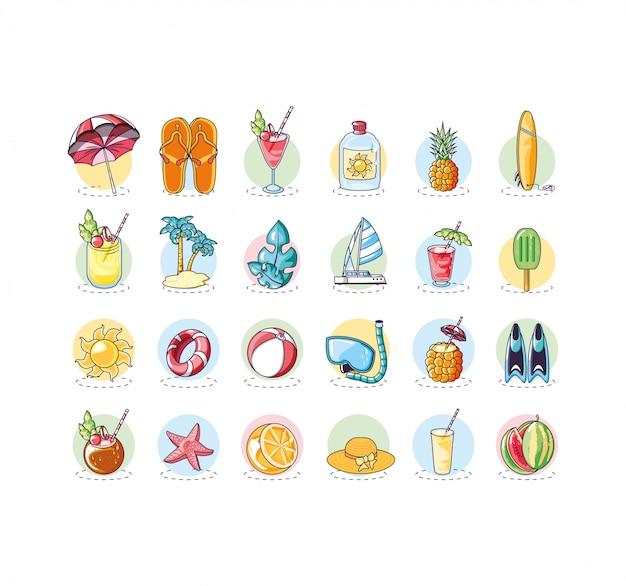 Manifesto di estate con set di icone di vacanza Vettore Premium