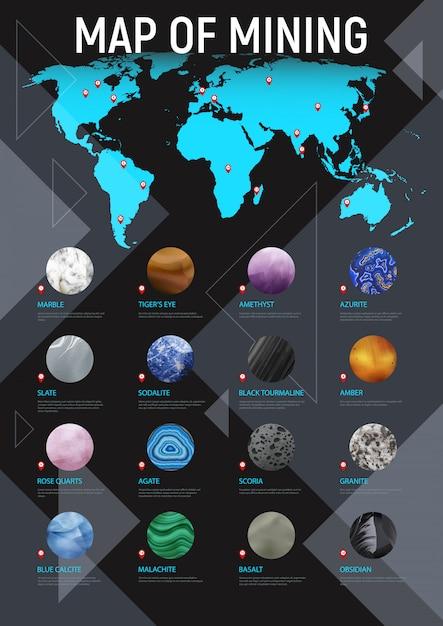 Manifesto di estrazione mineraria della mappa di pietra realistica con la mappa del titolo di estrazione mineraria e l'illustrazione stabilita dell'icona di pietra rotonda differente Vettore gratuito