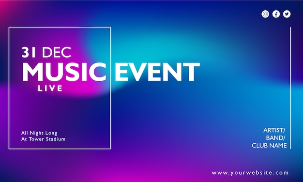 Manifesto di eventi musicali su sfondo sfumato Vettore Premium