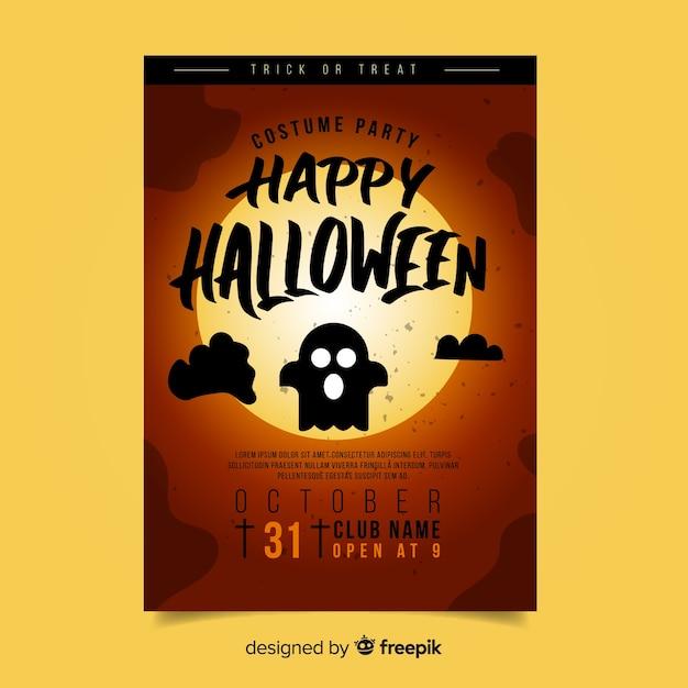 Manifesto di festa di halloween moderna con design piatto Vettore gratuito
