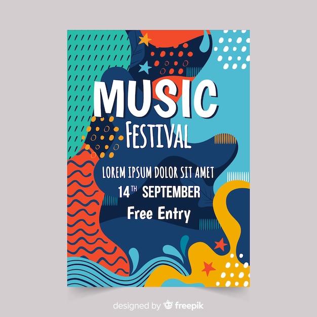 Manifesto di festival di musica disegnato a mano astratto Vettore gratuito